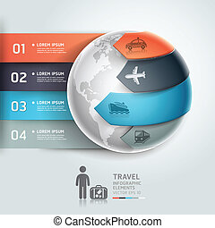 Abstract globe infographics travel transportation element...