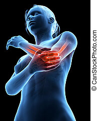 painful elbow - woman having acute pain in the elbow joint