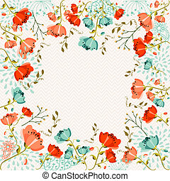 Colorful flowers greeting card - Springtime retro greeting...