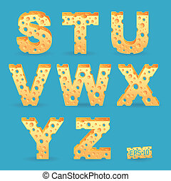 Cheese alphabet set Vector illustration More typeface style...