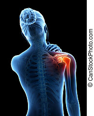 shoulder pain - a woman having acute pain in the shoulder...