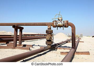 tubería, aceite, medio, Bahrein, este, desierto
