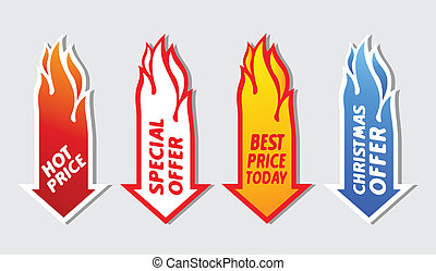 Special offer flaming arrow symbols. Over gray background
