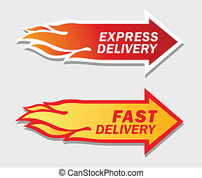 Express and Fast Delivery symbols Over gray background