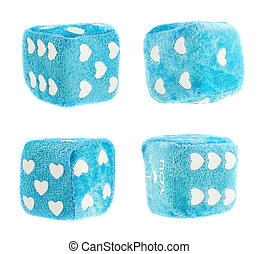 Plush toy dice isolated - Plush blue toy dice with hearts as...