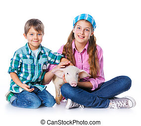 Little farmers. Cute gir and boyl with pig. Isolated on...