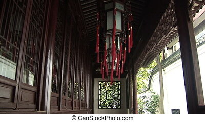 Chinese Temple Light - Hanging Chinese lanterns in the...