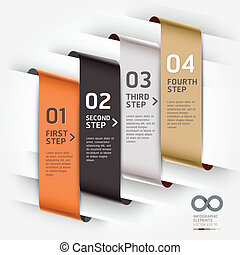 Abstract infographics template ribbon style. Vector...