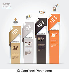 Modern arrow business steb options banner. Vector...