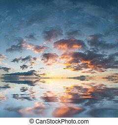 Majestic sunset reflection in water