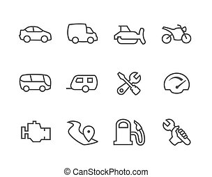 Thin lined Auto icons - Simple set of auto related vector...