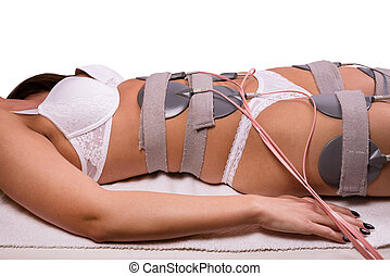Electrostimulation - Electrodes on young woman's body at the...