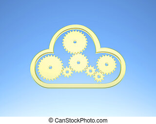 Golden Cloud Computing Icon on blue Sky - Golden gears and a...