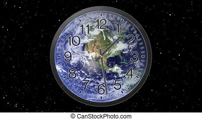 Earth Clock Time Lapse - Clock with earth background Twelve...