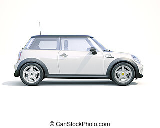 Modern compact car on a light background