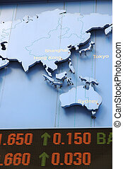 stock data with map - Stock price rising, with pacific...