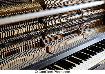 inside the piano: string, pins and hammers - inside the...