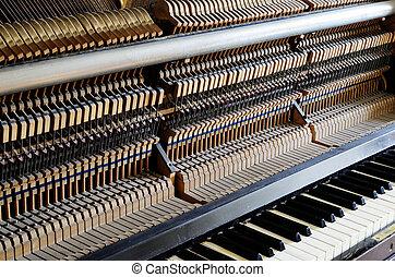 dentro, piano:, cuerda, alfileres, martillos