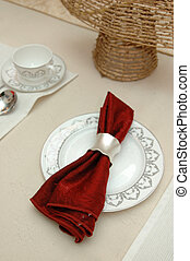 Elegant table cloth on a fine dinning table setting