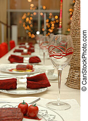 Fine dinning table setting in Christmas holiday