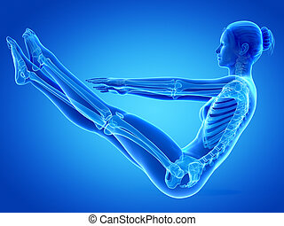 Workout - Woman working out - female skeleton
