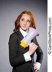 mulher, alto-falante, estúdio