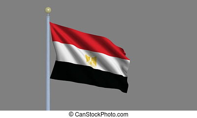 Flag of Egypt with alpha matte - Flag of Egypt, waving in...