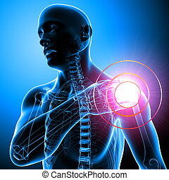 Male Shoulder pain on blue - 3d rendered illustration of...
