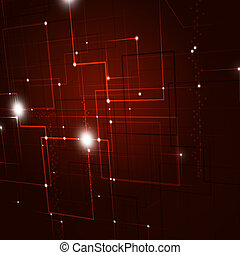 Red Tech Background - Abstract Technology lines and lights...