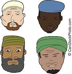 Muslim Men with Beards - Diverse set of bearded Muslim men...