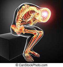 Anatomy of full body pain on gray - 3d rendered illustration...