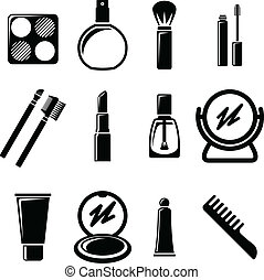 Set of cosmetics icons.
