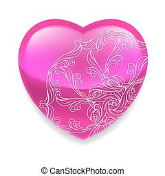 Shiny pink heart with decor - Glossy pink heart with ornate...