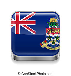 Metal icon of Cayman Islands - Metal square icon with flag...