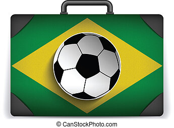 Brazil Travel Luggage with Flag for Vacation - Vector -...