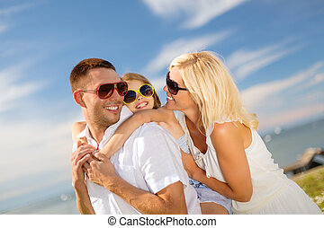 happy family in sunglasses having fun outdoors - summer...