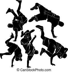 cobrança, breakdance, partir, dança