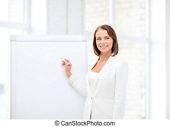 smiling businesswoman writing on flipchart