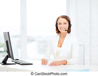 friendly female helpline operator with computer - business,...