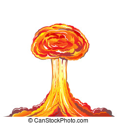 Nuclear explosion illustration isolated on white background