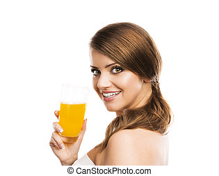 Woman drinking juice - Beautiful woman with a glass of...