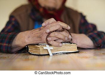antigas, mulher, orando