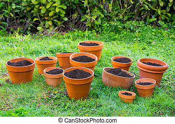 Terra Cotta Garden Pots with Soil - Fresh soil in terra...