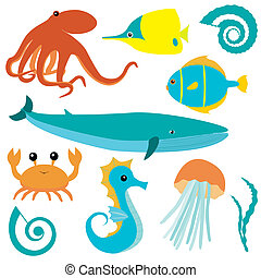 Sea animals collection - Collection of sea animals isolated...