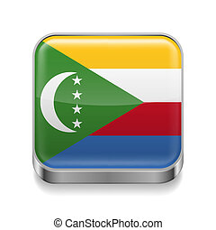 Metal icon of Comoros - Metal square icon with flag colors...