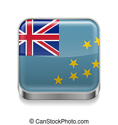 Metal icon of Tuvalu - Metal square icon with Tuvalu flag...