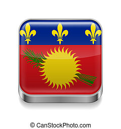 Metal icon of Guadeloupe - Metal square icon with flag...