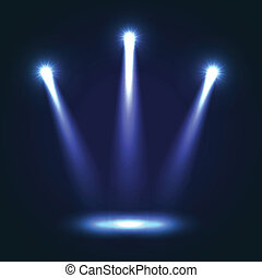Vector Background With Three Bright Spotlights