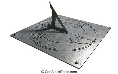 Sundial - An old vintage sundial clock made of scratched...