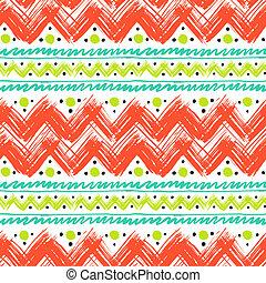 étnico, patrón, pintado, zigzag, pinceladas